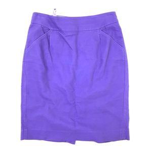 "J. Crew ""The Pencil Skirt"" Purple Slit Skirt 4"